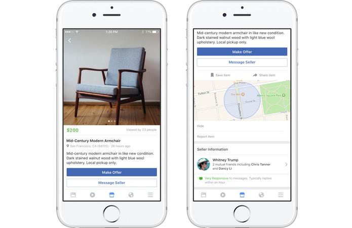 Faça uma oferta para os produtos que gostar e ainda veja a localização (Foto: Divulgação/Facebook)