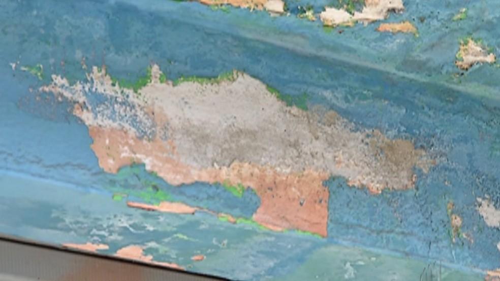 Mofo e umidade atingem paredes da UBS. — Foto: Reprodução/TV Diário
