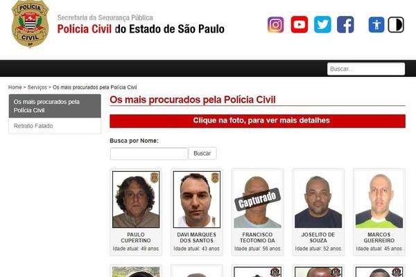 Paulo Cupertino Matias tem nome, fotos e dados pessoais incluídos na lista dos 24 criminosos mais procurados pela polícia de São Paulo — Foto: Reprodução/Polícia Civil de SP