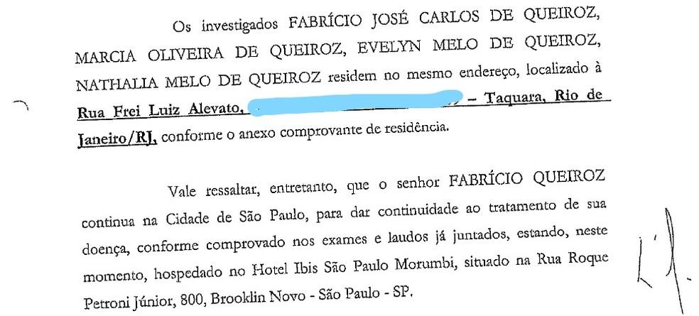 Ofício da defesa de Fabrício Queiroz aponta residência fixa no Rio — Foto: Reprodução