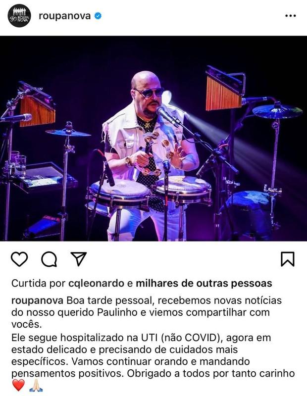Comunicado sobre estado de saúde de Paulinho (Foto: Reprodução/Instagram)