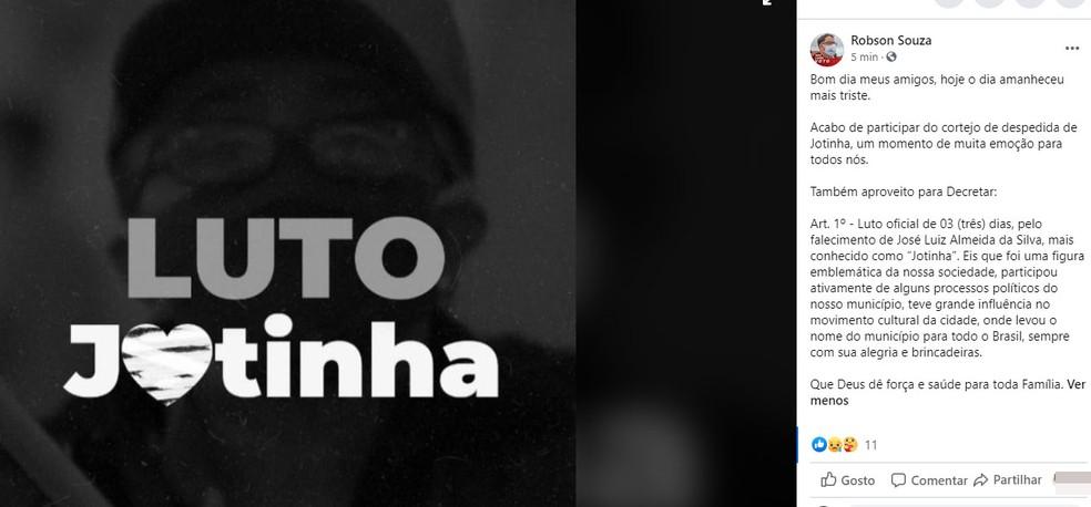 Prefeitura de Elísio Medrado decretou luto por três dias, por causa da morte de Jotinha — Foto: Reprodução/Facebook