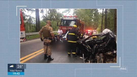 Acidente na Grande Florianópolis envolvendo carro da Argentina deixa 3 feridos e causa engavetamento