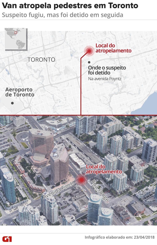 Van atropela pedestres no Canadá (Foto: Roberta Jaworski/G1)
