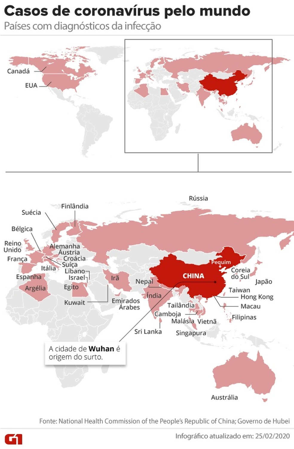 Casos de coronavírus pelo mundo.  — Foto: Arte/G1