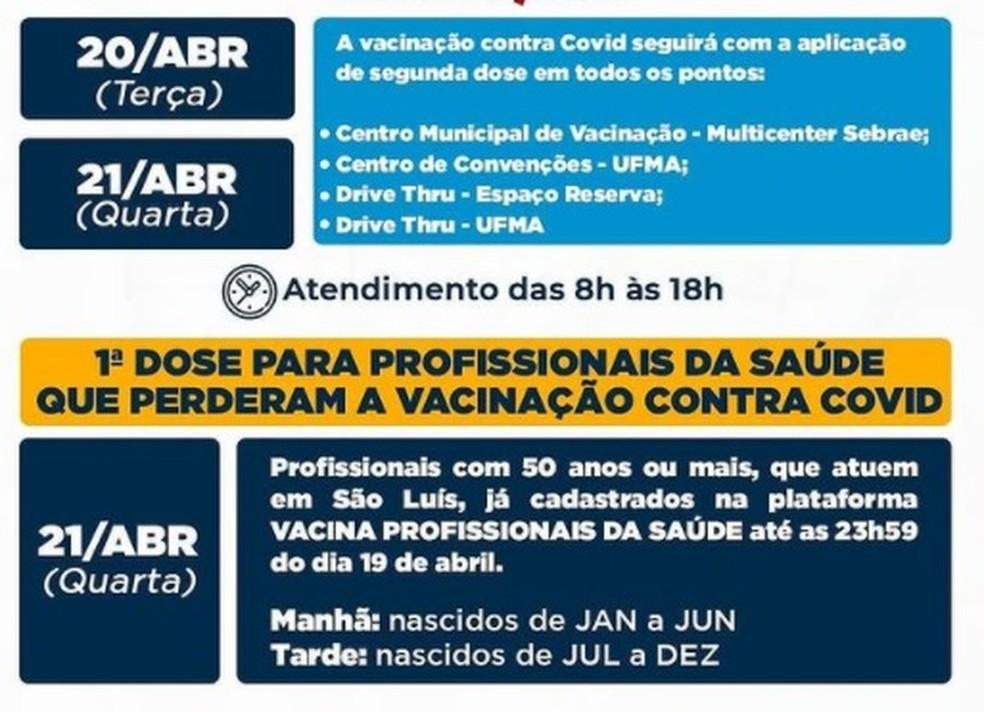Prefeitura de São Luís divulga calendário de vacinação contra Covid-19 — Foto: Divulgação/Prefeitura de São Luís