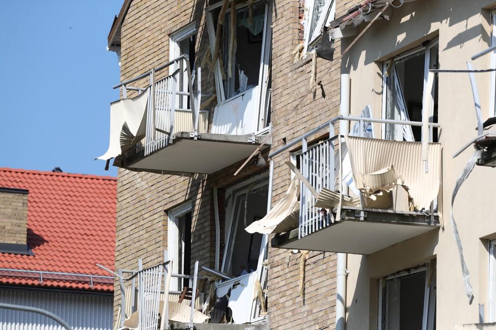 Dano causado por explosão em um prédio na Suécia — Foto: Jeppe Gustafsson/TT News Agency/Reuters