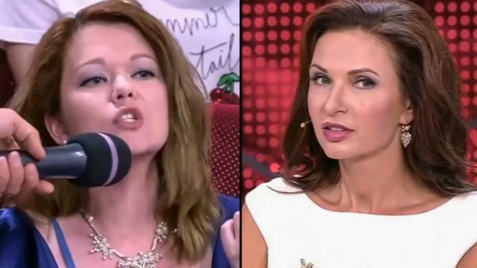 Mulher ofende atriz e é estapeada durante talk show da televisão russa (Foto: Reprodução Youtube)