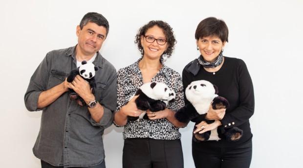 Duarte, Tatiana Fulas e Patth Pachas, sócios a frente da Panda Books (Foto: Divulgação)