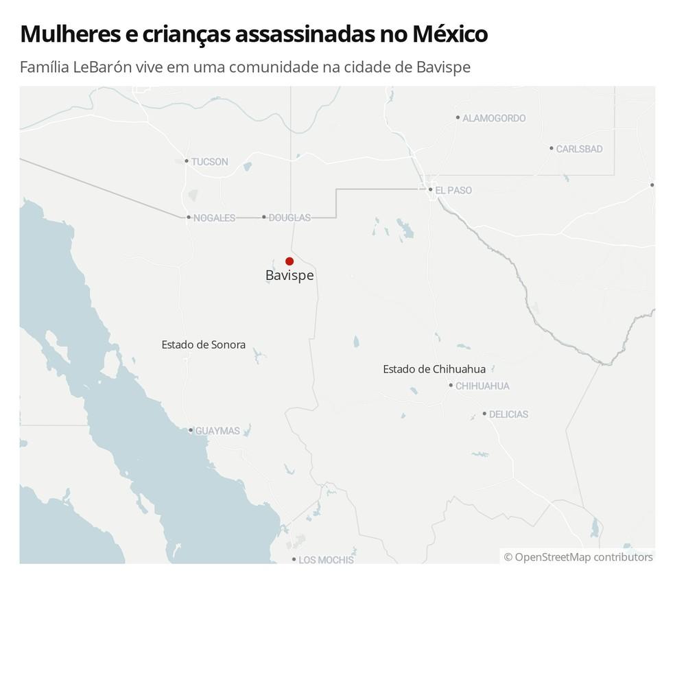 Mapa mostra região no norte do México onde houve uma emboscada — Foto:  G1