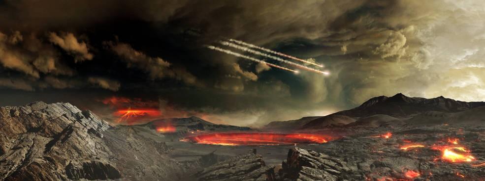 Representação artística de meteoros atingindo a Terra há bilhões de anos (Foto: NASA's Goddard Space Flight Center Conceptual Image Lab)