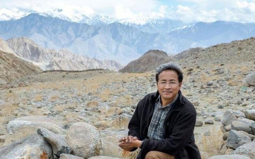 Sonam Wangchuk criou uma forma de fazer geleiras artificiais  (Foto: Rolex/Stefan Walker)