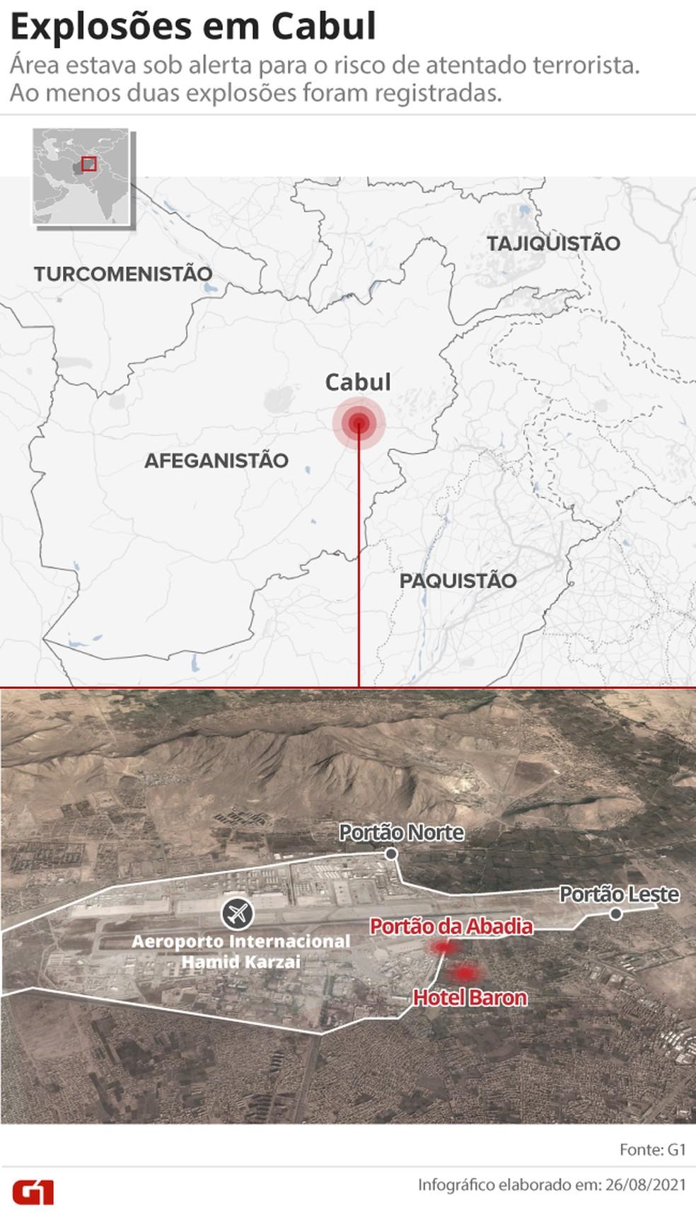Mapa identifica área das explosões próximas ao aeroporto de Cabul — Foto: Arte G1