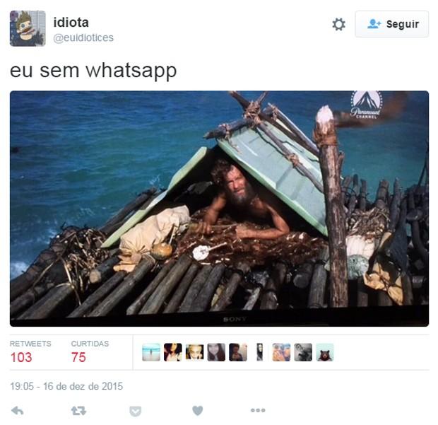 Usuário virou 'O náufrago' de Tom Hanks após notícia do bloqueio do WhatsApp no Brasil (Foto: Reprodução/Twitter/@euidiotices)