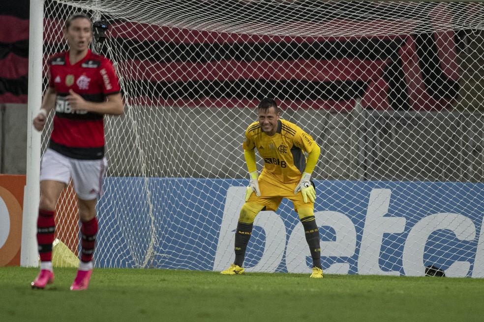 Diego Alves teve boa atuação em Flamengo x Palmeiras — Foto: Alexandre Vidal / Flamengo