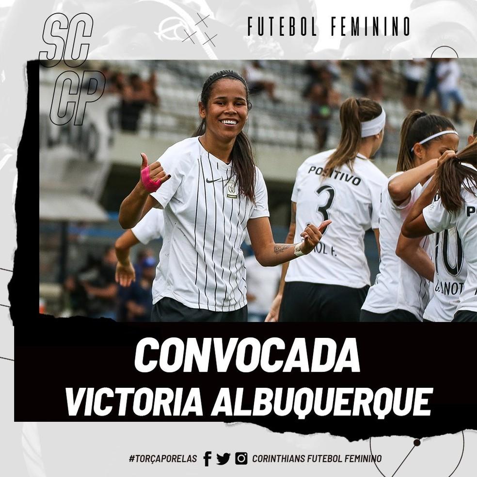 Victoria Albuquerque, do Corinthians, é convocada para a Seleção — Foto: Divulgação / Corinthians