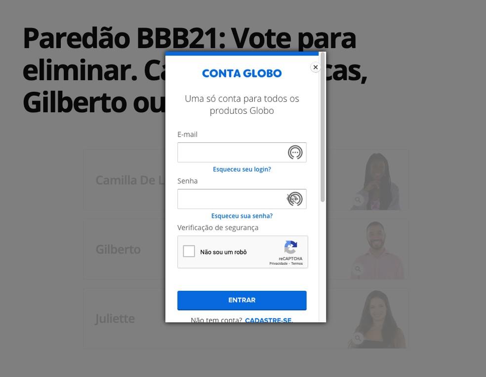 Votar BBB 21: voto pelo Gshow pode eliminar um dos brothers da final — Foto: Reprodução/TechTudo