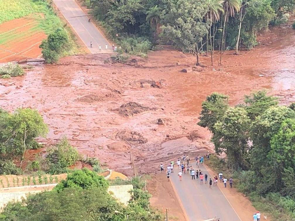 Área inundada pela lama depois do rompimento da barragem da Vale em Brumadinho. — Foto: Divulgação/Cemig