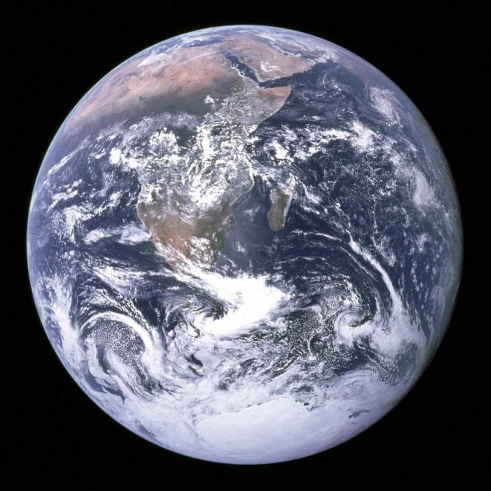 Planeta Terra fotogrado durante a missão Apollo 17, em 1972 — Foto: Nasa