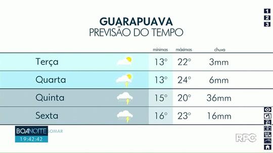 Pancadas de chuva estão previstas nesta terça-feira em Guarapuava