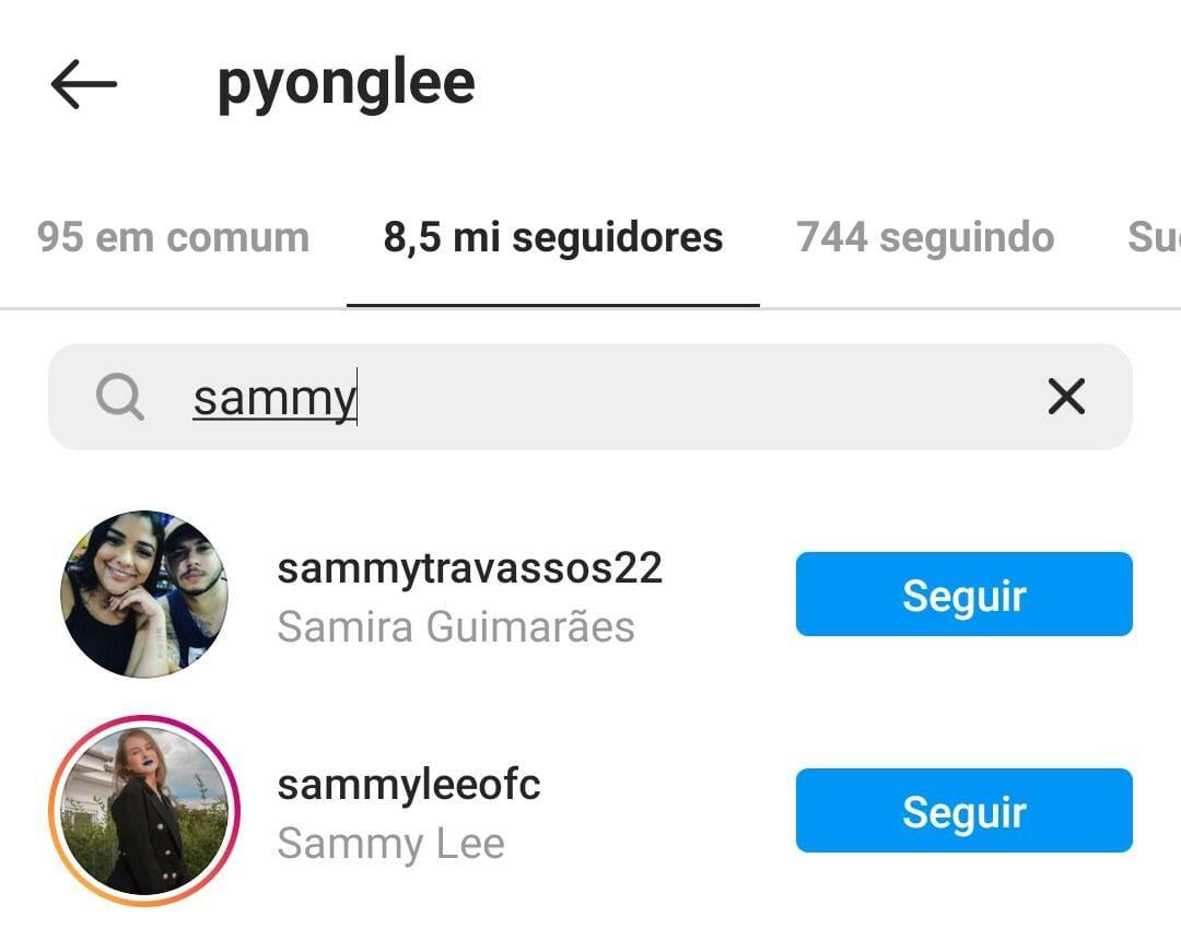 Sammy Lee dá unfollow em Pyong Lee após anunciar separação; Pyong continua entre seguidores dela (Foto: Reprodução/Instagram)