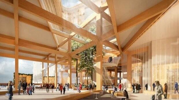 Construções da cidade deverão ser de madeira, que apresenta benefícios sustentáveis (Foto: Snøhetta/Sidewalk Labs)