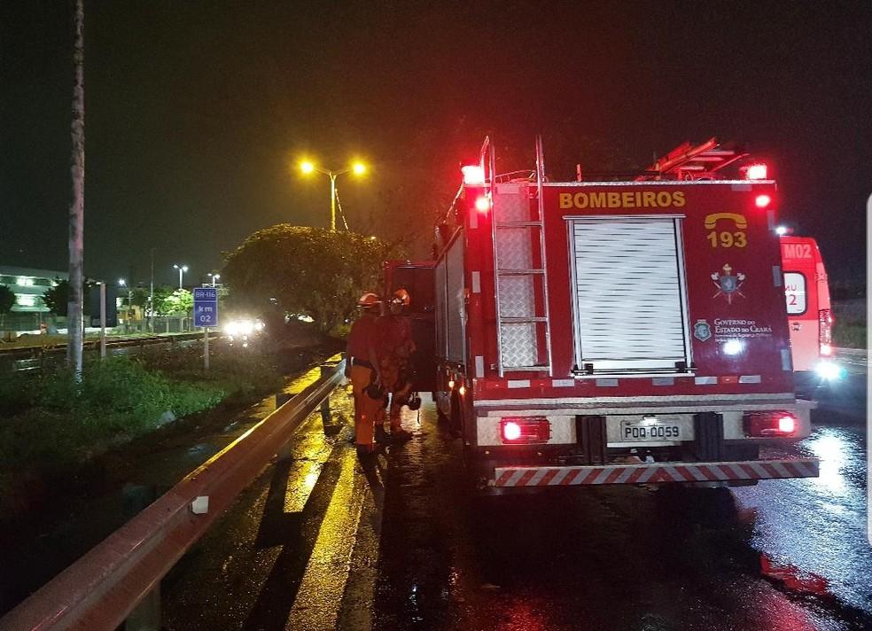 Corpo de Bombeiros aguarda desligamento da rede de energia para fazer a retirada da árvore. — Foto: Rafaela Duarte/Verdes Mares