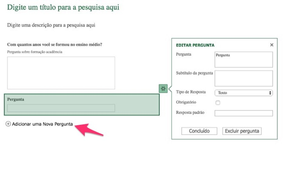 Ação para adicionar novas perguntas em um formulário de pesquisa criado no Excel Online — Foto: Reprodução/Marvin Costa