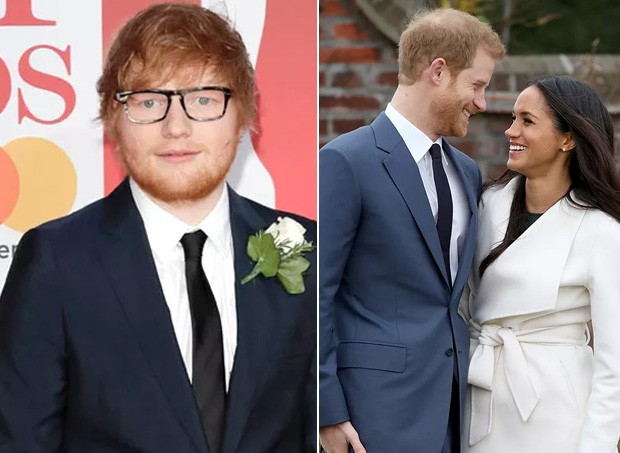 Ed Sheeran, príncipe Harry e Meghan Markle (Foto: Getty Images)