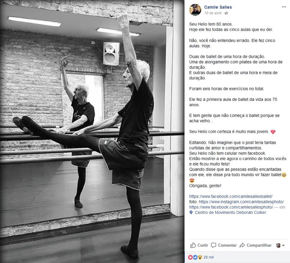 Imagem de Hélio Haus na aula de balé viralizou nas redes sociais (Foto: Camiel Salles/Arquivo Pessoal)