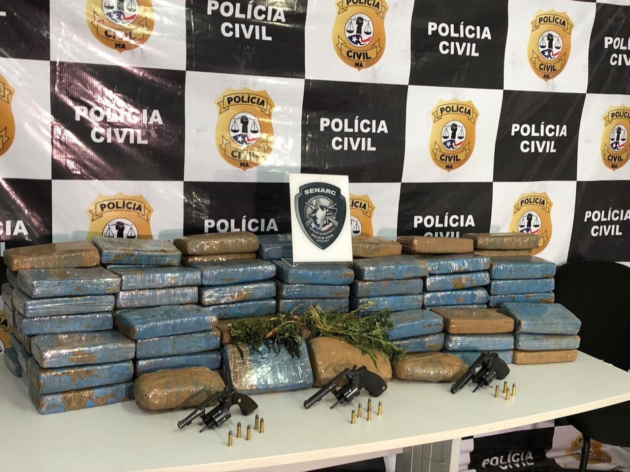 Polícia apreende armas e 120 kg de maconha em Vitória do Mearim, no MA