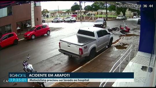 Câmera de segurança registra grave acidente entre moto e carro em Arapoti