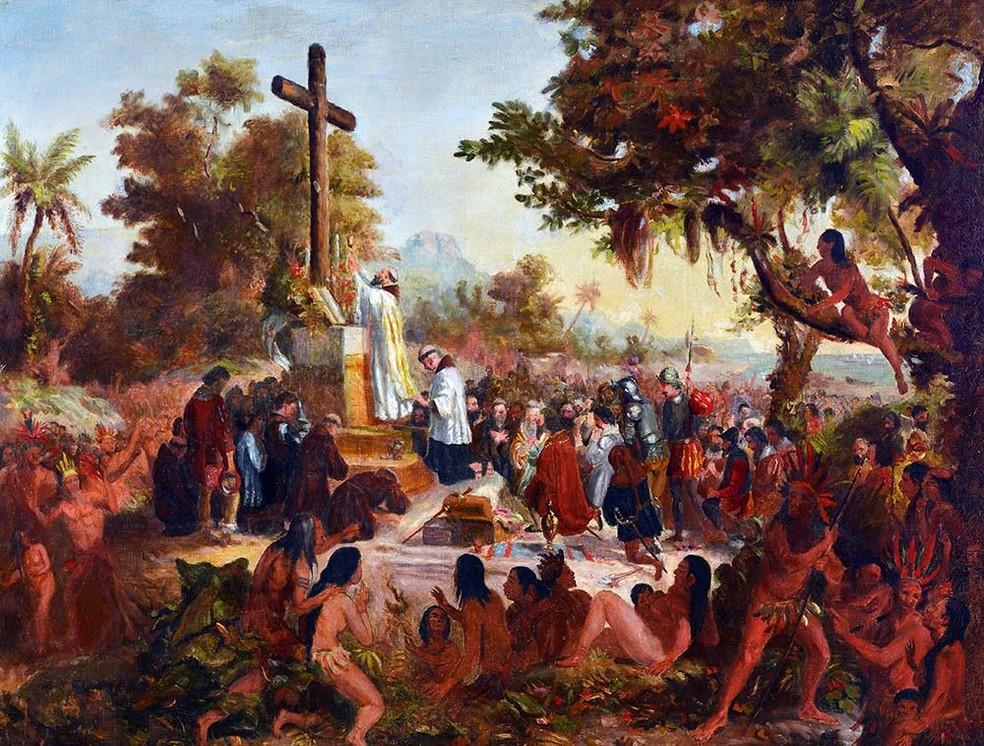 """A pintura """"Primeira Missa"""", de Victor Meirelles, é datada do século XIX (Foto: Divulgação)"""