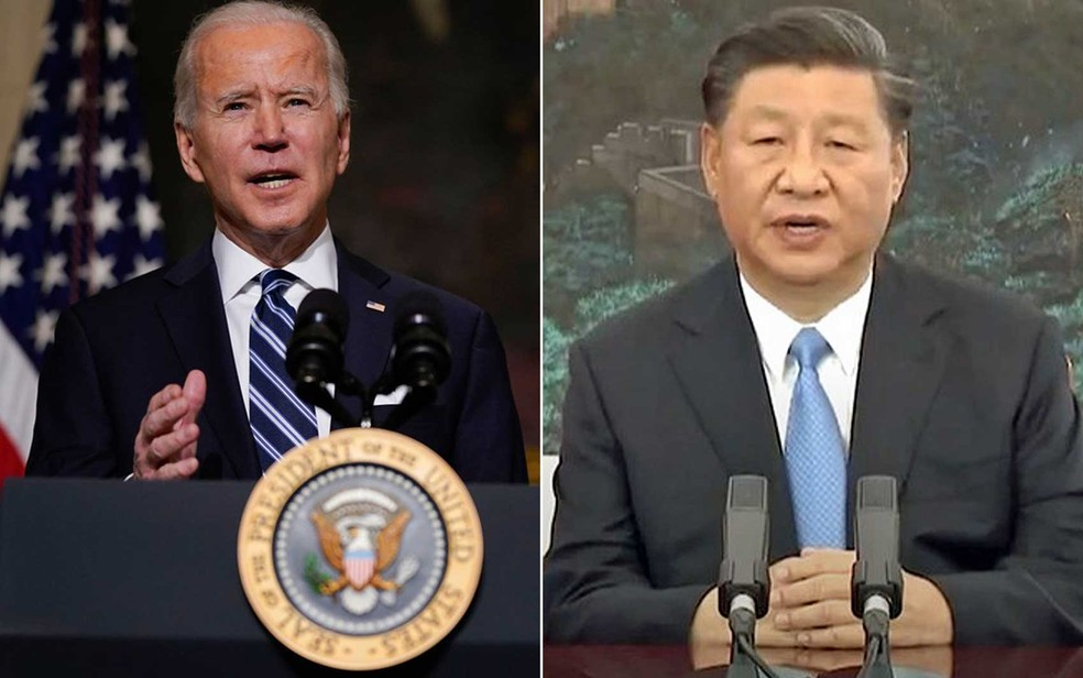 Os presidentes Joe Biden e Xi Jinping — Foto: Evan Vucci / AP Photo e Reprodução/ United Nations/ You Tube