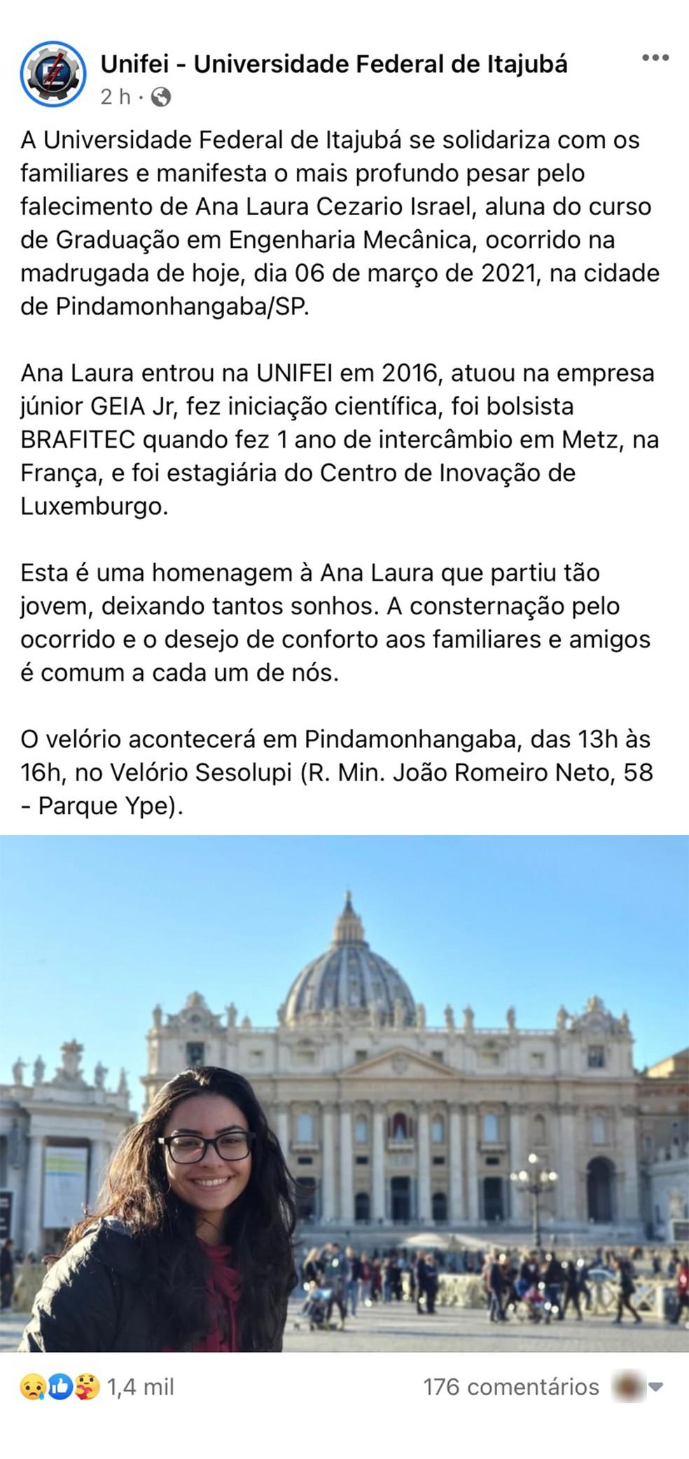 Unifei publicou nota de pesar pela morte da universitária Ana Laura Cesario Isarael, de Pindamonhangaba — Foto: Reprodução/ Facebook