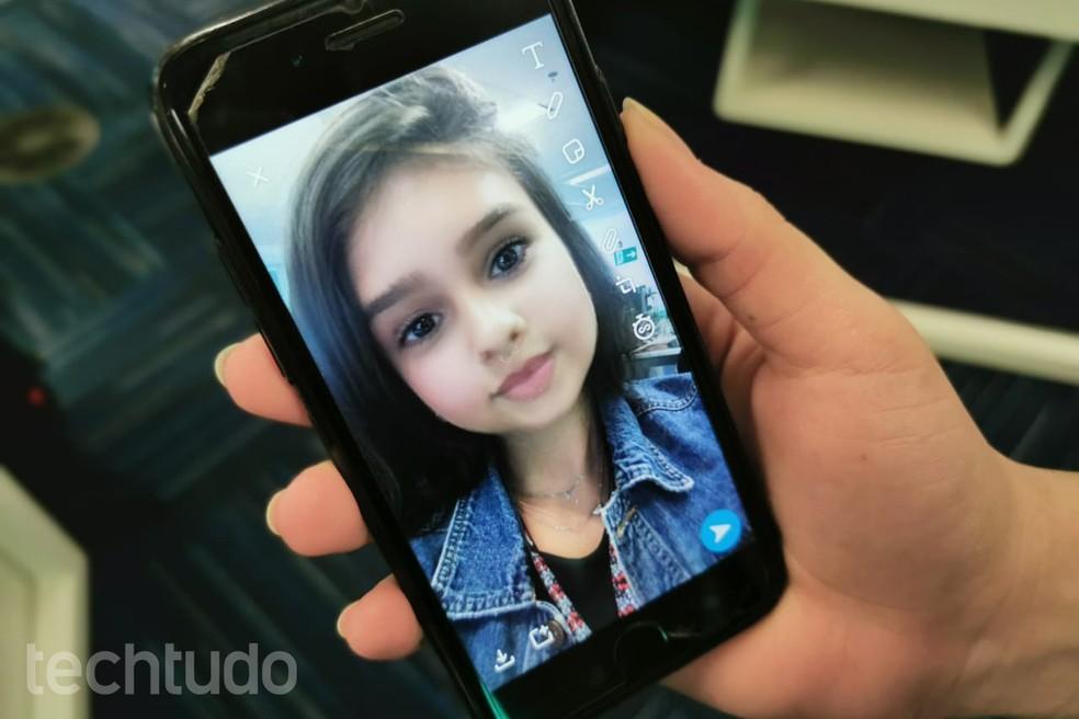 Filtro de bebê do Snapchat — Foto: Pedro Vital/TechTudo