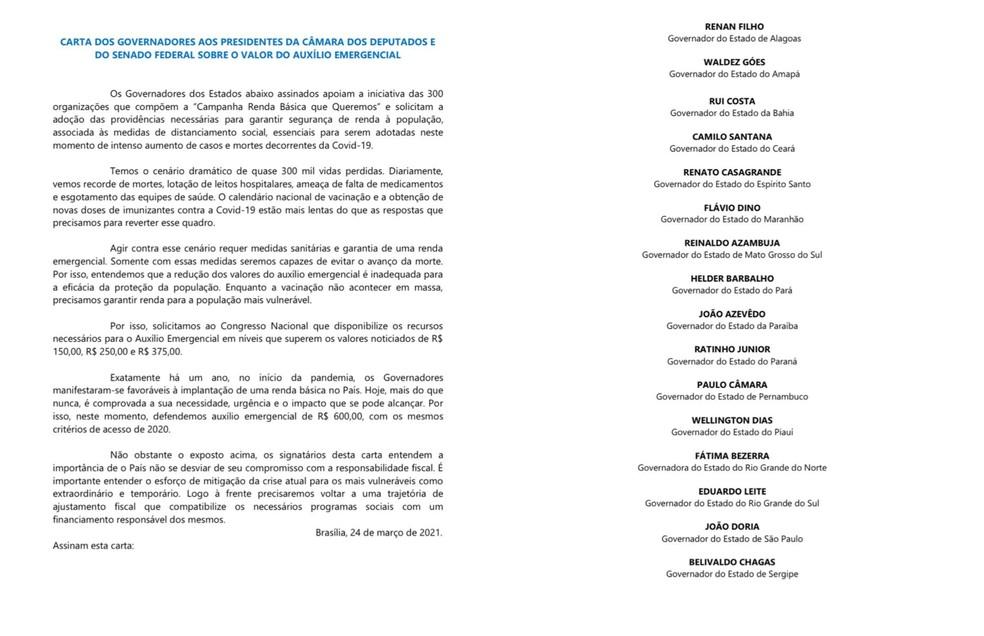 Governadores de 16 estados assinam carta à Câmara e Senado pedindo volta de R$ 600 no auxílio emergencial — Foto: Reprodução/Twitter
