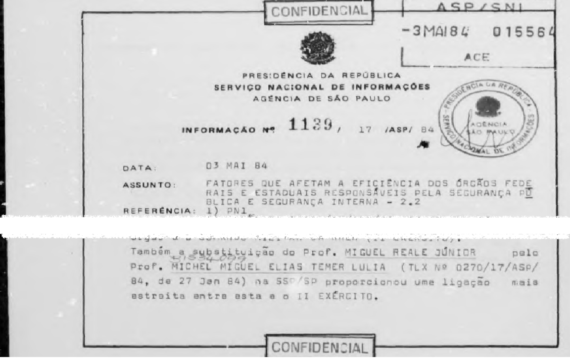 Relatório do SNI de 1984 (Foto: Reprodução)