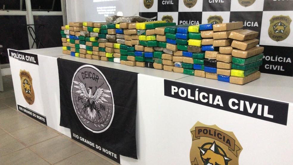 Drogas foram apreendidas durante operação em Pau dos Ferros, no Oeste potiguar — Foto: Geraldo Jerônimo/Inter TV Cabugi