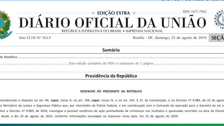 diário-oficial-desmatamento (Foto: Reprodução DOU)