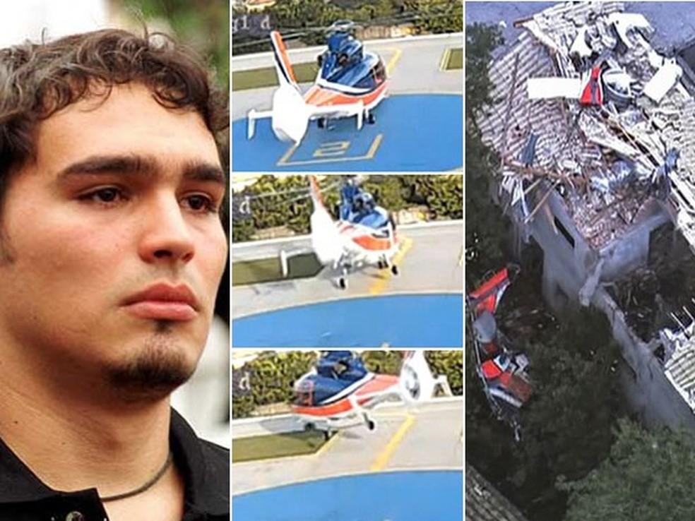 Thomas Alckmin, filho do governador Geraldo; imagem do helicóptero antes de decolar; e foto dos destroços da aeronave em Carapicuíba (Foto: (Foto: Arquivo/Beto Barata/Estadão Conteúdo, imagens TV Globo))