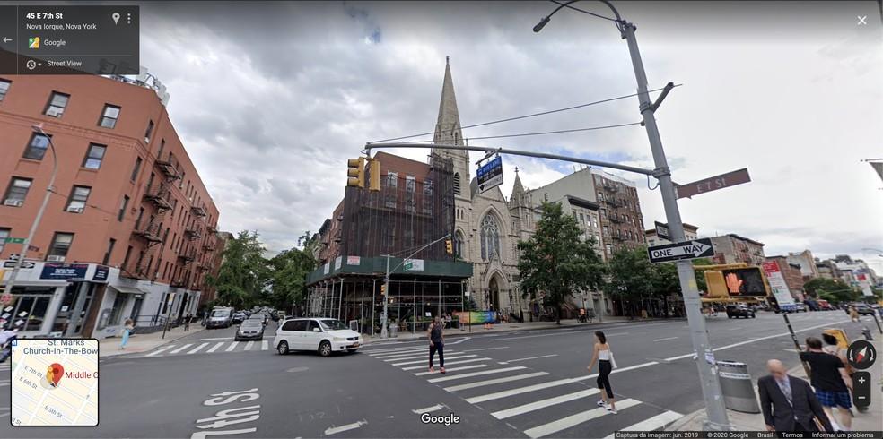 Registro de junho de 2019, feito pelo Google Maps, da Middle Collegiate Church, em East Village, Nova York, nos EUA. — Foto: Reprodução / Google Maps