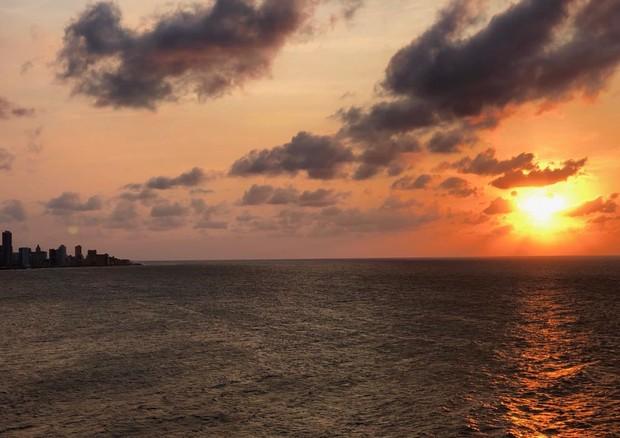 O pôr do sol visto do Castillo San SaLvador (Foto: divulgação)