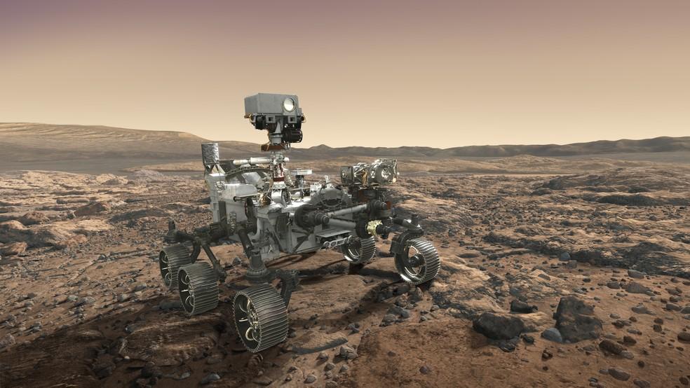 Impressão artística do robô Mars 2020, que vai buscar vestígios de vida em Marte. — Foto: Nasa/Mars Exploration Program
