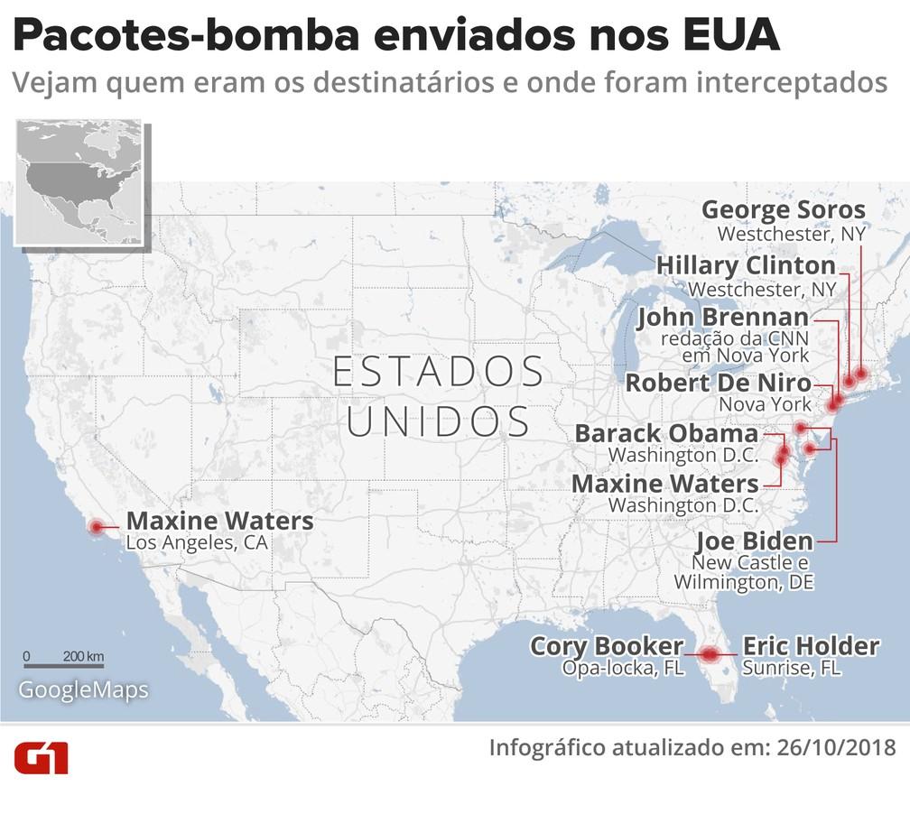 Pacotes-bomba enviados nos EUA — Foto: Juliane Souza/G1