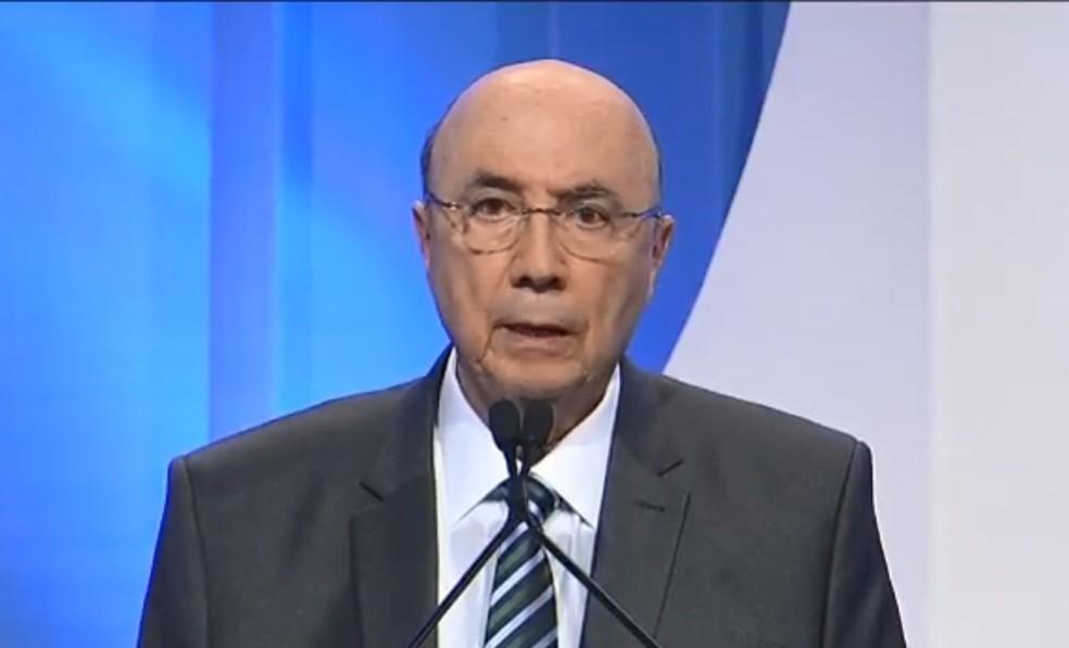 O presidenciável Henrique Meirelles (MDB) no debate da RedeTV! (Foto: Reprodução/RedeTV!)