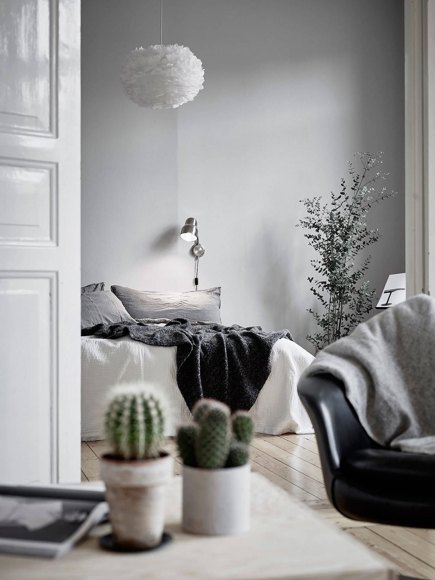 Décor do dia: tons de cinza no quarto de casal (Foto: Reprodução/Pinterest)