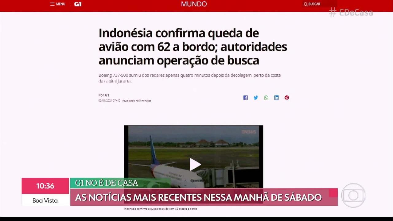 G1 no É de Casa: Indonésia confirma queda de avião com 62 a bordo