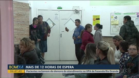 Pacientes reclamam de demora no atendimento em UPA de Fazenda Rio Grande