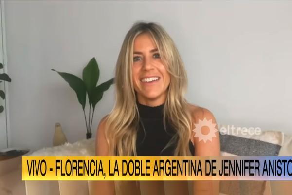 Florence Trosero (foto: reproducción) de la aparición de Jennifer Aniston en Argentina en un programa de televisión de su país
